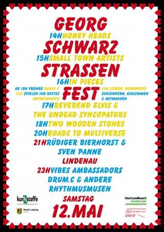Bildinhalt: 3. Georg-SchwarZ-Straßen-Fest am 12.05.2012 | Plakat: Jenny Zimmermann