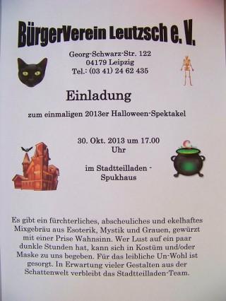 Halloween-Spektakel in der Georg-Schwarz-Straße, am 30. 10. 2013 | Einladung zum Leutzscher Halloweenspektakel in der GSS 122 / Foto: Enrico Engelhardt