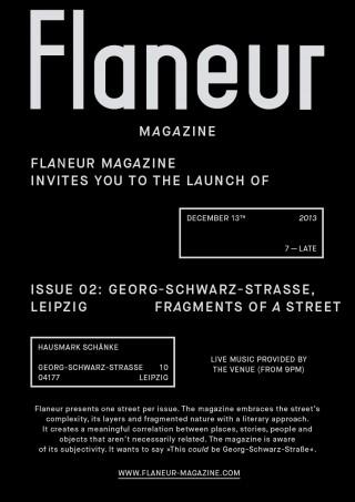 Flaneur-Magazin über Georg-Schwarz-Straße - Vorstellung am 13. 12. in der Haumark Schänke | Einladug zur Veröffentlichung des neuen Flaneur-Magazins / Flyer: Flaneur