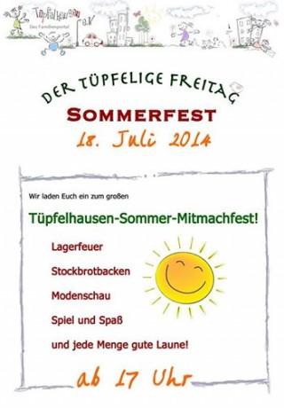 Tüpfelhausen feiert Sommerfest am Freitag, den 18. Juli 2014 | Ankündigung zum Sommerfest / Plakat: Tüpfelhausen e. V.