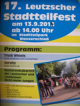 BürgerVerein Leutzsch e. V. feiert 17. Leutzscher Stadtteilfest, am 13. 09. 2014  | Das Plakat zum 17. Leutzscher Stadtteilfest / Plakat: BV Leutzsch