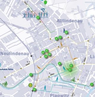 Programm des Georg-Schwarz-Straßenfestes und des Tags der Städtebauförderung am Sonnabend,  9. Mai | Karte des Leipziger Westens mit Veranstaltungsorten am 9. Mai 2015