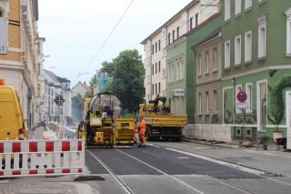 Teilfreigabe für Verkehr beim Gleisbau in der Georg-Schwarz-Straße |