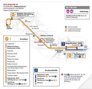 Plan für den Schienenersatzverkehr der Linie 7 am 4. Juli | Karte: LVB