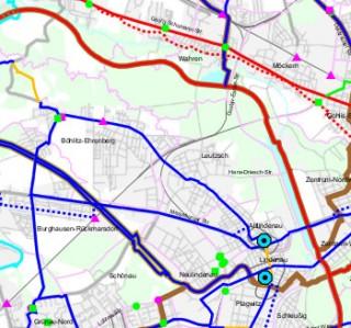 Bildinhalt: Deckensanierung der William-Zipperer-Straße zwischen Hans-Driesch-Straße und Georg-Schwarz-Straße | Ausschnitt aus dem Radverkehrsentwicklungsplan mit der W.-Zipperer-Straße als Hauptradverbindung