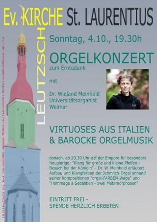 Romantische Orgelmusik zum Erntedank am 4.10. in der St.-Laurentiuskirche Leutzsch |