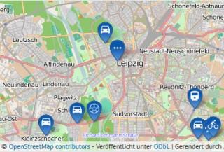 Bildinhalt: Online-Dialog zur Fortschreibung des Luftreinhalte- und Lärmaktionsplans für Leipzig | Kartengrundlage: OpenStreetMap