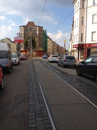 Informationen zum Bau hintere Georg-Schwarz-Straße | Georg-Schwarz Straße Hoehe Leutzsch-Arkaden; Foto: S.Ruccius
