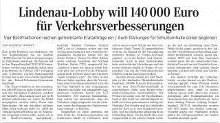 Lindenau-Lobby will 140000 Euro für Verkehrsverbesserungen  | Artikel LVZ, 25.11.16, Seite 17