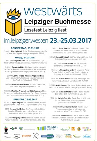 Bildinhalt: Westw�rts! Lesungen entlang der Georg-Schwarz-Stra�e zur Buchmesse | Westw�rts 2017