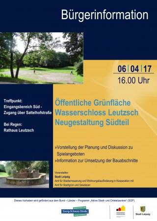 Bildinhalt: Bürgerinformationsveranstaltung Wasserschloß | Plakat zur Bürgerinfo Wasserschloss