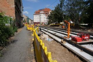 Bildinhalt: Aktuelles von der Baustelle Georg-Schwarz-Straße | Gleisbau auf der GSS