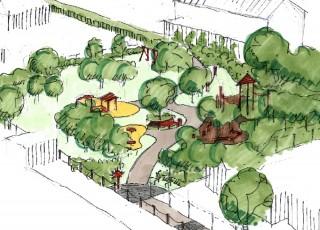 Bildinhalt: Spielplatzeröffnung Rosenmüllerstraße | Entwurfsplan Spielplatz Rosenmuellerstrasse