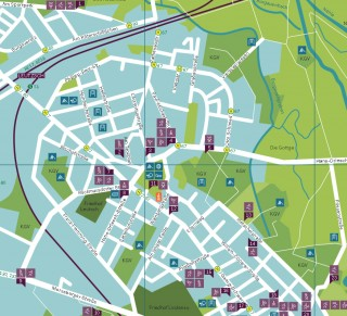 Plan mit Sportangeboten für den Leipziger Westen | Ausschnitt Leutzsch, Bewegungsstadtplan Leipziger Westen