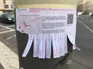 Bildinhalt: Petition für eine dauerhafte Fußgängerbrücke zwischen Leutzsch und Böhlitz- Ehrenberg |